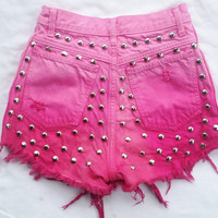 Vintage Pink Ombre High Waist shorts with studded backside