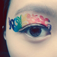 1 Pair of Temporary Tattoo for Eyes Eyelids Rainbow Color Pop for Clubbing Party Prom Festival