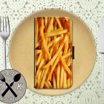 French Fries Close Up Fast Food Funny Cool Custom Wallet Phone Case For iPhone 4/4s and iPhone 5 and 5s and 5c and iPhone 6 and 6 Plus +