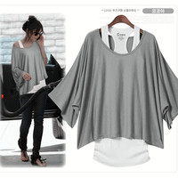Women Batwing Short Sleeve Loose Top Vest T-Shirt Tee Blouse Oversize S M L XL