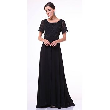 Short Sleeves Split Front Mother of the Bride Dress Black