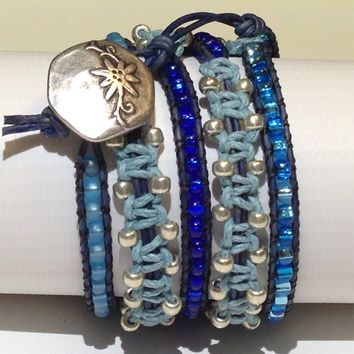 Handmade 3X Wrap Bracelet in Blue