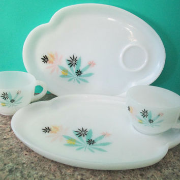 Federal Milk Glass Snack Trays with flower design tea cups  serving pink yellow blue pastels mid century kitsch spring summer