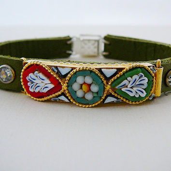 Leather Cuff Bracelet, Vintage Micro Mosaic Focal, Sage Green, Rhinestone, Statement Leaf Flower Aqua Red White