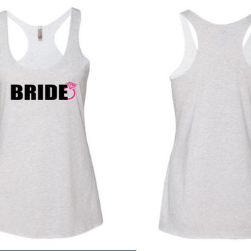 Wedding Tank Top / Bride Racerback Tank Top/ White Bride Tank Top/ Bride to be tank top // bridal tank top/ wedding tank top // wedding tank