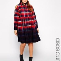 ASOS Curve | ASOS CURVE Exclusive Dress In Dip Dye Check at ASOS