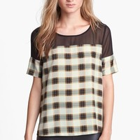 Like Mynded Chiffon Yoke Plaid Top | Nordstrom