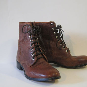 Vintage Justin Leather Granny Boots Girly Grunge Size 6 6 1/2