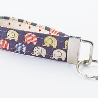 Elephant Key Chain, Handmade Fabric Key Fob, Wristlet, Tiny Elephants, Denim / Indigo Color