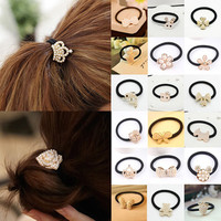 Korean Cute Princess Pearl Crown/Cat Kitty/Flower/Heart/Bow/Rabbit Ponytail Holder Elastic Hair Rope/Band Ties Hair Accessories
