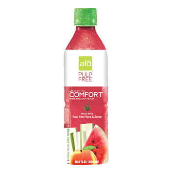 Alo Pulp Free Comfort Aloe Vera Juice Drink - Watermelon and Peach - Case of 12 - 16.9 fl oz.