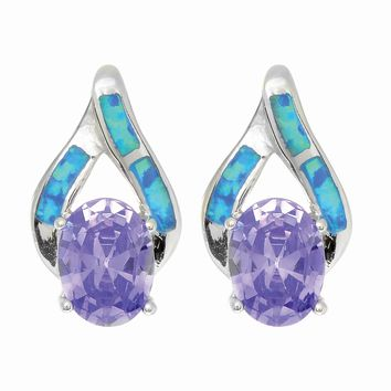 Silver with Rhodium Finish Shiny Textured Opal Teardrop Fancy Post Earring with Oval Amethyst Stone