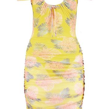 Paris Hilton Cut Out Front Mesh Midi Dress | Boohoo