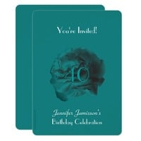 40th Birthday Party Invitation Teal Rose