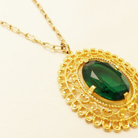Vintage Gold Tone Coro Large Green Oval Glass Pendant Necklace, Statement Jewelry
