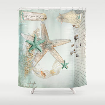 Summer Sea Treasures Beach  Shower Curtain by DMiller