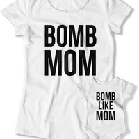Mother And Son Matching Outfits, Mommy and Daughter Shirts, Mom And Baby Gift, Matching Set, Baby Shower, Bomb Mom Like Mom TEP-1056-1057