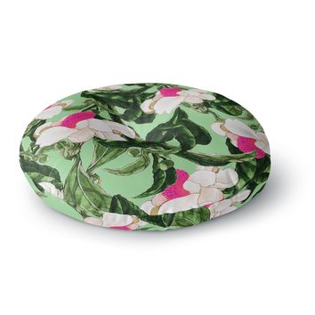 "83 Oranges ""Royal Florals"" Green Pink Illustration Round Floor Pillow"