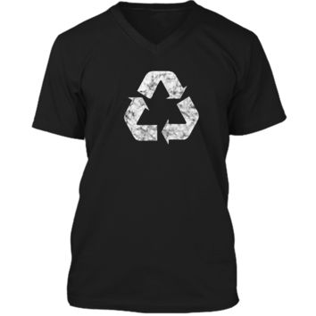 Earth Day Green Recycling Logo Sign T-Shirt on Select Colors Mens Printed V-Neck T