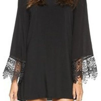 Lace-Paneled Long Sleeve Shift Dress