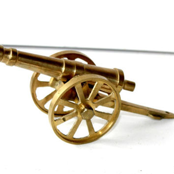 Brass Cannon Shelf Sitter Made Taiwan , Solid Brass Wheeled Cannon , Cannon Figurine , Rolling Caison