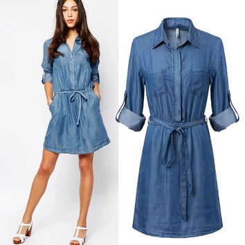 Stylish Long Sleeve Denim Women's Fashion One Piece Dress [5013111748]