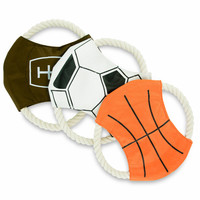 Unique Petz 3-PC Sports Dog Rope Toy Set with Squeaker