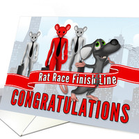 Retirement Congratullations - Funny Rat Race Theme card