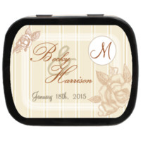Fancy Floral Personalized Wedding Mint Tins, vintage rustic inspired candy favors for weddings, engagements, parties and more!