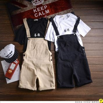 Male Khaki black Jumpsuit Short pants Fashion Casual Suspender shorts Men's Bib Overalls Summer Style Hip-Hop Jumpsuits 041611