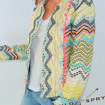 Ethnic Jacket Pompom Multicolor