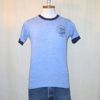 Vintage 80s RAYON PENSACOLA CHRISTIAN College Graphic Heather Blue Tri-Blend Small Ringer T-Shirt
