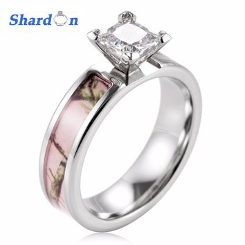 SHARDON Ladies Camo Engagement ring Pink Real tree titanium wedding ring Prong Setting CZ crystal big rings for women romantic