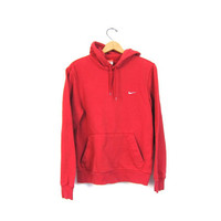 Red Nike Hooded Sweatshirt Athletic Pullover Nike Hoodie Sweater Slouchy Cotton Sports Sporty Prep Workout Top Womens Small