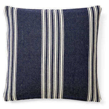 French Laundry Home, Striped 20x20 Cotton Pillow, Navy, Decorative Pillows