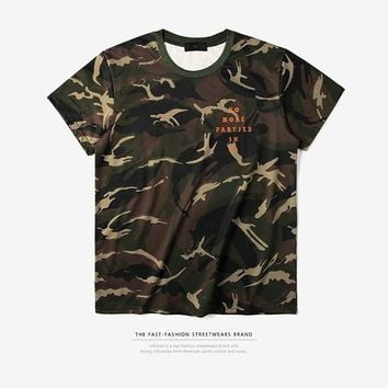 ca qiyif INFLATION No More Parties in LA Camouflage T-shirt