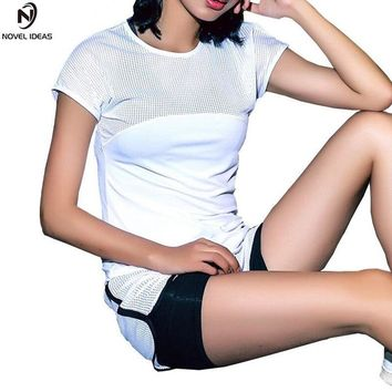Novel ideas Sexy Mesh Breathable Yoga Shirts Tops Women Quick Dry Fitness Sports T Shirt For Gym Running Tops Female Sportswear