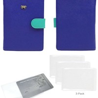 Turquoise/Orange JAVOedge Two Tone Color RFID Blocking Passport Case, Pen Holder and Bonus 3 Clear Credit Card Holders
