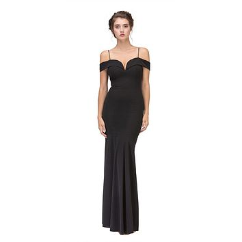 CLEARANCE - Black Off Shoulder Mermaid Style Evening Gown Sweetheart Neckline (Size XS)