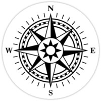 Compass rose stickers, black and white