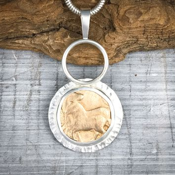 Sterling Silver and Bronze Horses Necklace