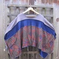 Asymmetrical Upcycled Vintage Lagenlook Hippie Poncho/Funky Romantic Cape Cover Up/Eco Sweater Shawl Paisley Patchwork Poncho One Size