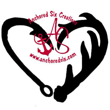 Fish Hook & Antler Heart Decal