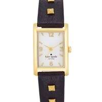 kate spade new york Watch, Women's Cooper Gold-Tone Pyramid Stud and Black Leather Strap 32x21mm 1YRU0245