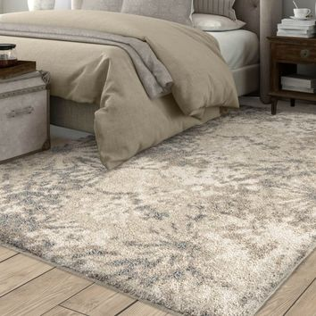 Greige Stencil Plush Shag by Carolina Weavers - 5'3 x 7'6 | Overstock.com Shopping - The Best Deals on 5x8 - 6x9 Rugs