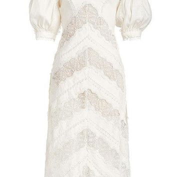 White Chevron Lace Midi Dress