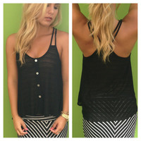 Black Button Up Sheer Spagetti Strap Top