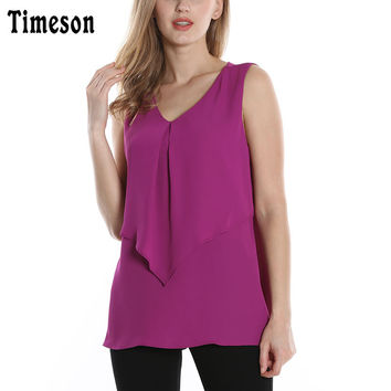Timeson 2017 New Fashion Women Chiffon Ruffles V Neck Sleeveless Blouses Shirts Lady Layered-Look Relaxed Tops Feminine Blusas