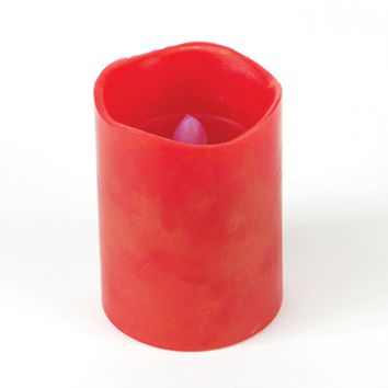 "4"" Red Battery Operated Flameless LED Wax Christmas Pillar Candle"