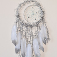 Silver Dream catcher, Crescent Moon, Wall hanging Dreamcatcher, Silver Wall Decor, Bohemian decor